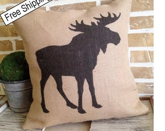 Rustic Moose Burlap - Pillow Insert Included * FREE SHIPPING *