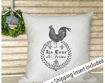French Rustic Decor | Rooster Pillow | French Country | Insert Included * FREE SHIPPING *