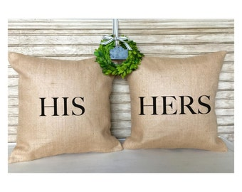 Bridal Shower Gifts | Wedding Gifts for Couple | HIS & HERS - Burlap Pillows - Wedding - Bridal - Inserts Included