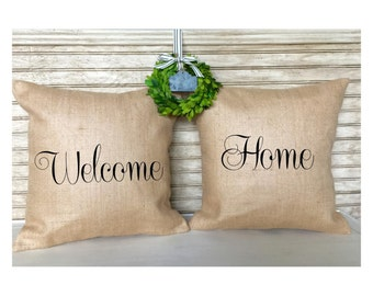 Housewarming Gift | New Home Gift | Welcome Home Burlap Pillow Set - Inserts Included
