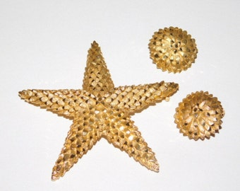 Vintage Star Brooch Pendant and Earring Set