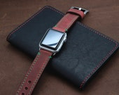 DISTRESSED BRICK RED Leather band for Apple Watch (with Green Stitching)