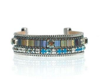 Hand woven Miyuki tila bead leather cuff bracelet - tila bracelet - leather bracelet with Swarovski crystals - Iridiscent green crystals