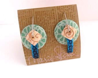 Sand and Sea disk earring new design and new wire design by Marie Segal 2015
