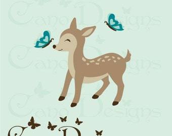 Deer with butterflies Reusable Fabric decal ,  Removable, reusable and repositionable fabric decal