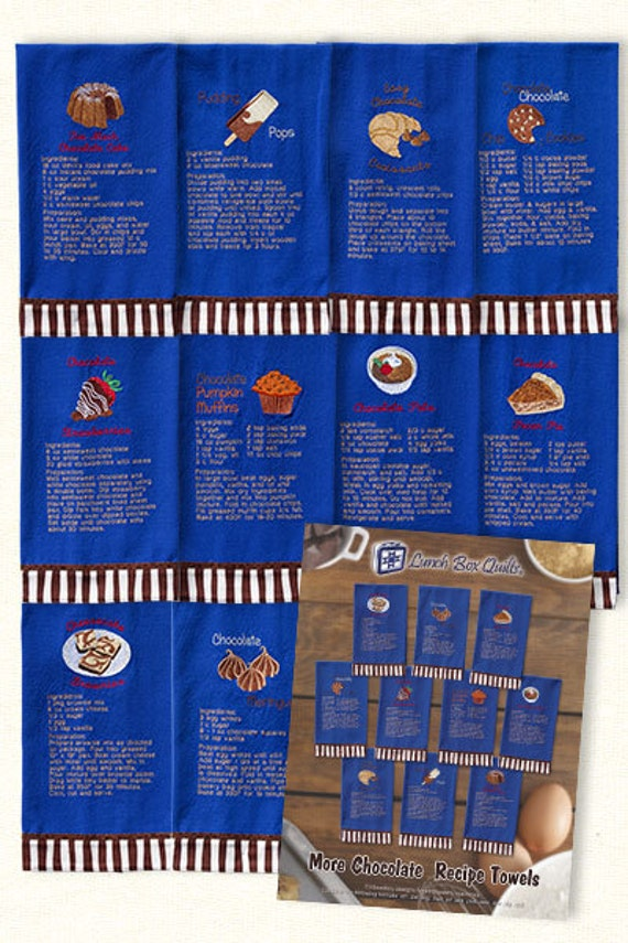 Lunch Box Quilts More Chocolate Recipe Towel Embroidery