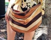 chevron handbag / metallic handbag / 80s metallic