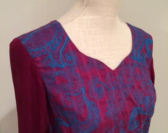 Vintage India Embroidered Extra-long Purple & Blue Tunic with Tone-on-tone Stripe and Ribbon Trim