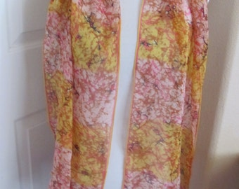 """SALE!! ECHO Scarf  // Beautiful Yellow Pink Sheer Silk Scarf - 14"""" x 60"""" Long - Best of the Best"""