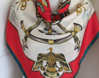 """Large Red White Green Gold Soft Silk Blend Scarf  - 33"""" Inch 85cm Square"""