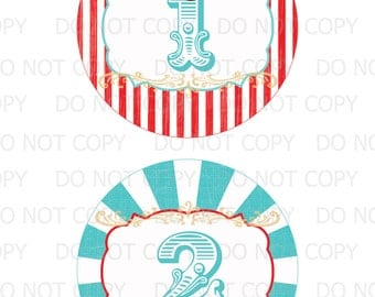 Printable DiY Vintage Circus Table Numbers 1 through 16  -  INSTANT DOWNLOAD