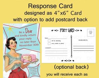 Printable DIY Retro Housewife Theme Birthday Party RSVP Response Card - Postcard backing