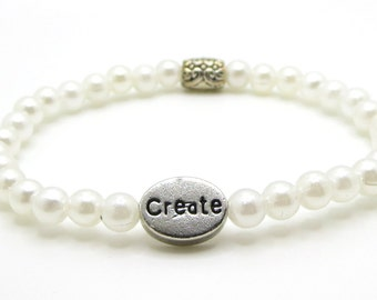 Create bracelet for creation and inspiration stretch bracelet faux pearls
