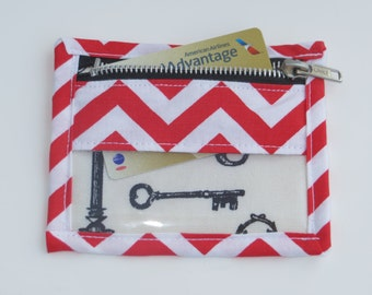 Red Chevron Metal Zippered Clear See-Through Vinyl Pouch for Coins, Credit Cards, Medications, Jewelry, etc.