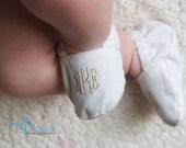 Monogrammed Infant Baptism Crib Shoes - White - Baby, Christening, Slippers, Godson, Goddaugther gift