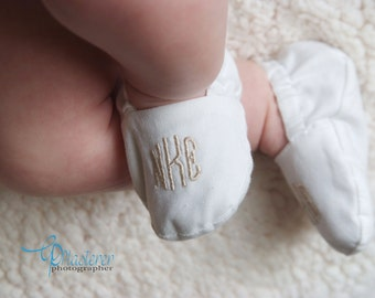Monogrammed Infant Baptism Crib Shoes - White - Baby, Christening, Slippers, Godson, Goddaugther gift