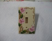 Hand Painted Switch Plate Cottage Roses Rosemaling Pink Electrical Outlet Cover Lighting Cream Tole Home Decor