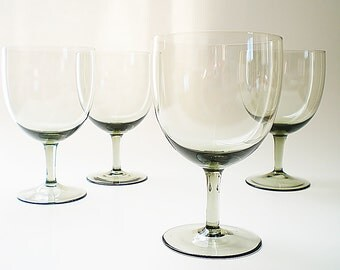 Vintage Crystal Stemware Water Goblets Smokey Grey Glass Wine Goblets Large Gray Wine Glasses