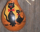 Halloween Vintage Style Dried Gourd Ornament 2 Cat Pumpkin Ornie Hand Painted Folk Primitive