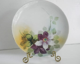 Antique Nippon Cabinet Plate Hand Painted China Floral Design Blue Maple Leaf
