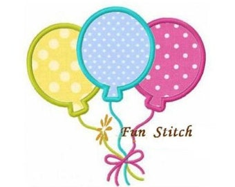 party balloons applique machine embroidery design