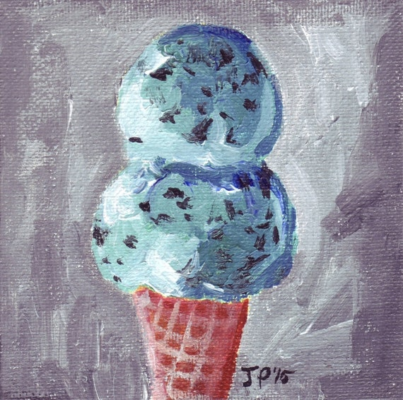 Acrylic Painting Ice Cream Art Mint Chocolate Chip Ice