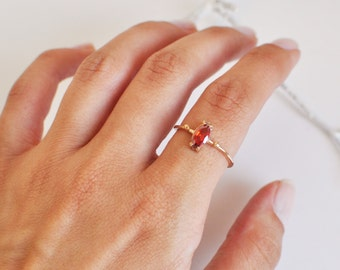 ring with red stone- rose gold plated sterling silver-free shipping