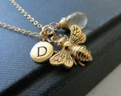Personalized bee necklace, Honey bee necklace, bumble bee charm & initial necklace with birthstone