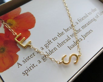 sisters initial necklace, multiple sideway initial jewelry, gift for sisters, letter charm, 1 2 3 4 big sister little sister