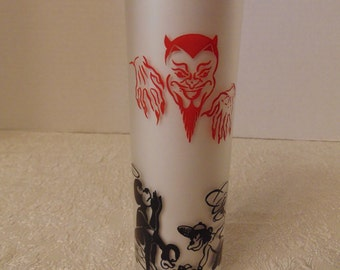 "Vintage Federal ""Ol Man Debil"" Frosted Tom Collins Glass 1954 Devil/Monkey"