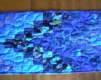 Dark Blue Bargello Table Topper