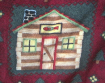 Handmade Blanket - Cabins on Maroon with Gold - Ready to Ship Now