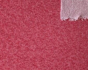 Merlot Red Heathered French Terry Knit Sweatshirt Fabric, 1 Yard