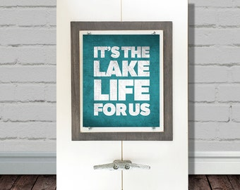 "Framed Wall Art Print with Boat Cleat ""It's the Lake Life for Us"" Turquoise Typography Print"