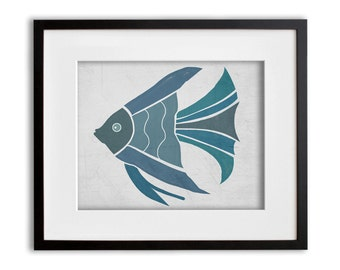 Turquoise and Blue  Angel Fish Wall Art 8x10 or 11x14 Graphic Print