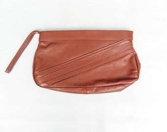 Light Brown Striped Leather Wristlet Clutch