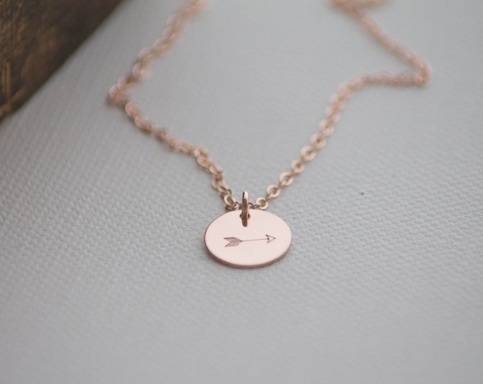 Personalized Rose Gold Dainty Necklace - Arrow - Hand Stamped Jewelry - Layering Necklace - Valentine's Day Gift by Betsy Farmer Designs
