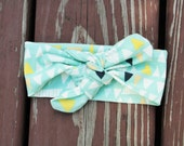 Knit Bow Headband in aqua triangles -- Baby, Child and Adult available