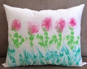 Hand Painted Pillow, Watercolor Pillow Cover, Decorative Art Pillow, Pink and Green Rose Pillow, Pillow with Painted Roses, Art Throw Pillow