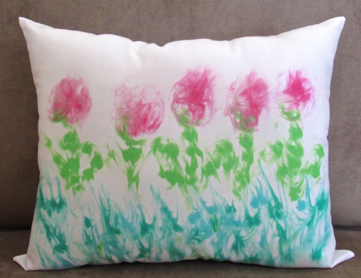 Hand painted pillow gift for her watercolor pillow cover for Hand painted pillows