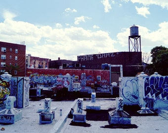 Water Tower & Graffiti in Queens Photography Print, New York City Photo, NYC Print