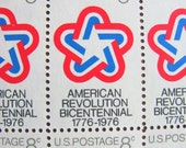 Stars and Stripes Full Sheet of 50 Vintage UNused US Postage Stamps 8c 1971 American Bicentennial Red White Blue Mod Design Save the Date