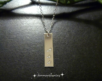 Sterling Silver Bar stamped with Birds Necklace - Mommy and Two baby Birds Necklace - Mother of the Bride Necklace - Mothers Day Gift