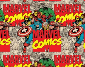 Marvel Immortals Avengers  Camelot Quilt Fabric by the 1/2 yard Hulk Thor Ironman