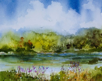 Molly's Pond, Watercolor Print, Trees, Flowers. Clouds, Peaceful, Riverbank