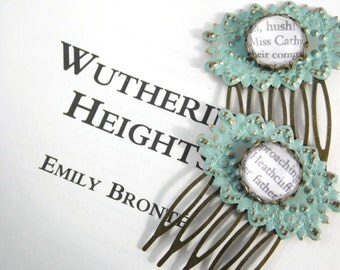 Wuthering Heights Hair Comb Verdigris Wedding - CATHY & HEATHCLIFF - literary bronze comb victorian styled - OOAK pair Etsy uk