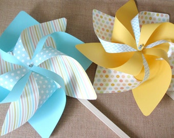 Paper Pinwheels Set of 4 Fancy Wave Pinwheels Birthday Party Favors Baby Shower Favors Birthday Decoration Table Centerpiece Wedding Favors
