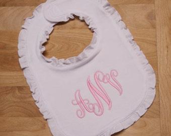 New Ruffled Baby Bib Infant Monogrammed Personalized Baby Gift