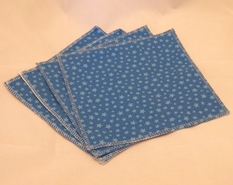 Cloth Wipes- Blue Stars- Set of 4- 15036