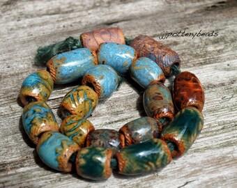 Beads, Handmade stoneware beads, Ceramic beads, Beads with 5mm holes, jewelry making supplies